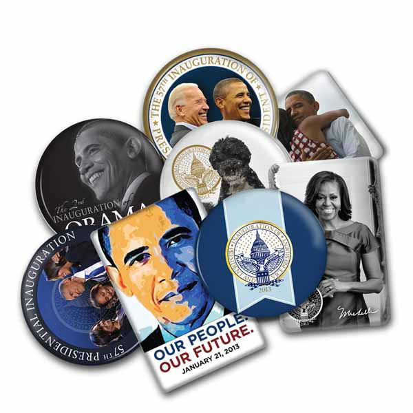"""This collector's set includes all 14 buttons commemorating the 57th Presidential Inauguration."" The Presidential Inaugural Committee launched its online store to sell souvenirs.  Online store: http://store.2013pic.org"