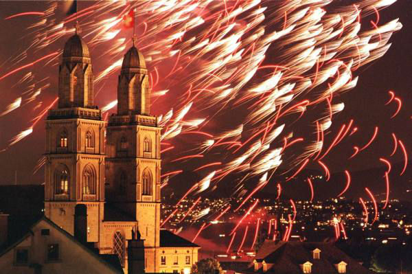 6. Zurich, Switzerland: The skyline of Zurich is seen behind the fireworks in this file photo. &#40;AP Photo&#47;KEYSTONE&#47;Walter Bieri&#41; <span class=meta>(AP Photo&#47; WALTER BIERI)</span>