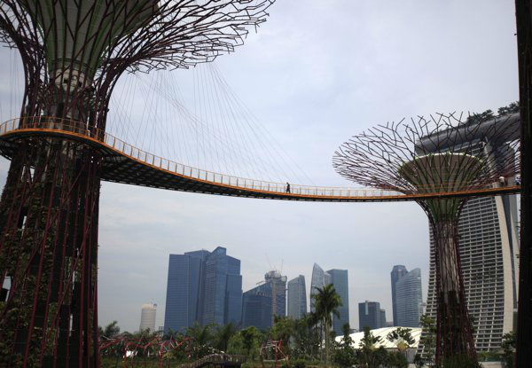 7. Singapore: A man is silhouetted on the &#39;OCBC Skyway&#39; linking the Supertrees next to Singapore&#39;s busy financial district on Monday, April 30, 2012 in Singapore.  &#40;AP Photo&#47;Wong Maye-E&#41; <span class=meta>(AP Photo&#47; Wong Maye-E)</span>
