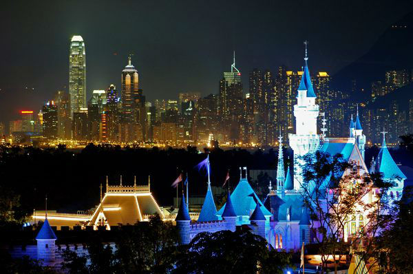 9. Hong Kong: In this image released by Hong Kong Disneyland, the Sleeping Beauty Castle stands against the Hong Kong skyline at Hong Kong Disneyland Tuesday, Aug. 30, 2005.  &#40;AP Photo&#47;Hong Kong Disneyland, Mark Ashman, HO&#41; <span class=meta>(AP Photo&#47; MARK ASHMAN)</span>