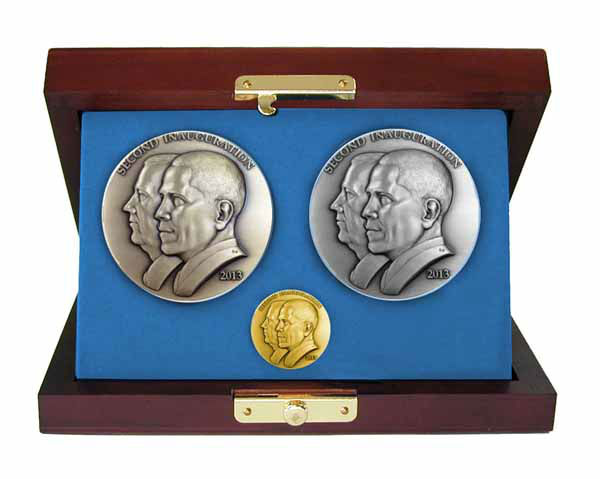 """The official 57th Presidential Inauguration medallion set includes the official medallions cast in bronze, silver, and gold. Comes with a certificate of authenticity and decorative display box."" At $7,500, it's the most expensive item in the store. The Presidential Inaugural Committee launched its online store to sell souvenirs.  Online store: http://store.2013pic.org"