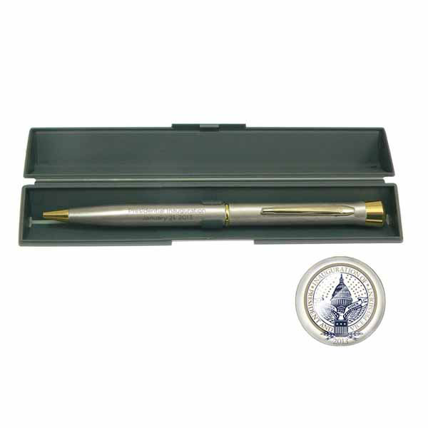 """This 57th Presidential Inauguration pen and case make for a perfect gift or souvenir."" The Presidential Inaugural Committee launched its online store to sell souvenirs.  Online store: http://store.2013pic.org"