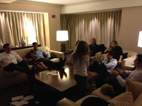 "<div class=""meta ""><span class=""caption-text "">Mitt Romney and Ann Romney with their grandkids as election results pour in. Photo posted to Twitter by Mitt Romney's personal aide, Garrett Jackson, aka @dgjackson.</span></div>"
