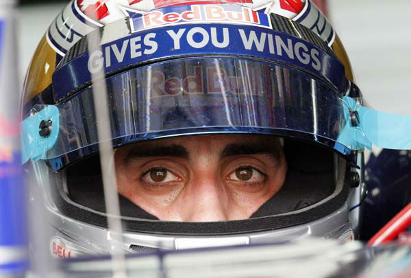 "<div class=""meta ""><span class=""caption-text "">Toro Rosso Formula One driver Sebastien Buemi of Switzerland waits in his car during the third practice session for the Malaysian Formula One Grand Prix in Sepang, Malaysia, Saturday, April 9, 2011. (AP Photo/Eugene Hoshiko) (AP Photo/ Eugene Hoshiko)</span></div>"