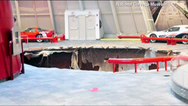 A sinkhole swallowed eight cars at the Corvette Museum in Bowling Green, Kentucky. They include a 1993 ZR-1 Spyder, 2009 ZR1 Blue Devil, 1962 black Corvette,  1984 PPG Pace Car,  1992 White 1 Millionth Corvette,  1993 Ruby Red 40th Anniversary Corvette,  2001 Mallett Hammer Z06 Corvette and a 2009 white 1.5 Millionth Corvette. <span class=meta>(WLS Photo)</span>