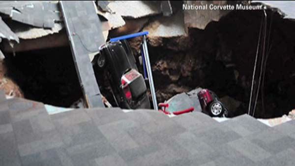"<div class=""meta ""><span class=""caption-text "">A sinkhole swallowed eight cars at the Corvette Museum in Bowling Green, Kentucky. They include a 1993 ZR-1 Spyder, 2009 ZR1 Blue Devil, 1962 black Corvette,  1984 PPG Pace Car,  1992 White 1 Millionth Corvette,  1993 Ruby Red 40th Anniversary Corvette,  2001 Mallett Hammer Z06 Corvette and a 2009 white 1.5 Millionth Corvette. (WLS Photo)</span></div>"