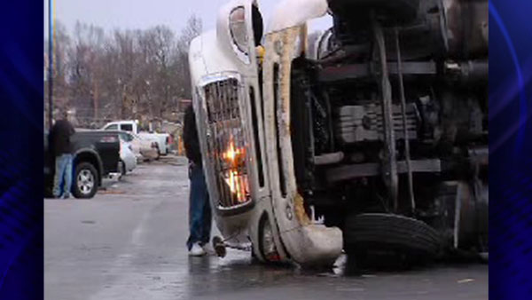 A truck is overturned in Harrisburg, Ill. after a storm passed, Wednesday, Feb. 29, 2012. <span class=meta>(ABC 7 Chicago)</span>
