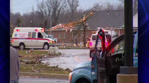 An ambulance drives by in Harrisburg, Ill.after the area is damaged by a severe storm, Wednesday, Feb. 29, 2012. <span class=meta>(ABC 7 Chicago)</span>