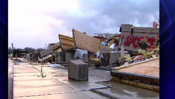 A strip mall falls over in Harrisburg, Ill., after an early morning tornado Wednesday, Feb. 29, 2012  <span class=meta>(ABC 7 Chicago)</span>