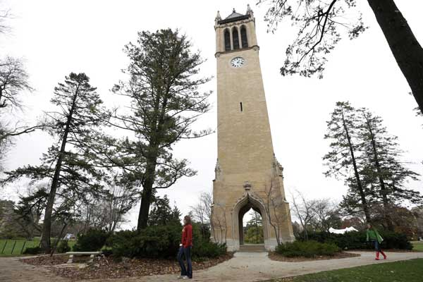 "<div class=""meta image-caption""><div class=""origin-logo origin-image ""><span></span></div><span class=""caption-text"">Ranked No. 2. Ames, Iowa: Students walk past the Campanile on the Iowa State University campus in Ames, Iowa.   [FILE] (Charlie Neibergall)</span></div>"
