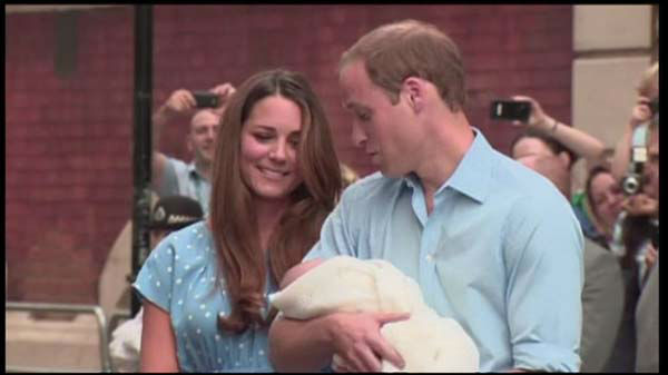 The Royal Baby: First baby photos of the royal heir as Kate Middleton and Prince William leave the hospital with their son.