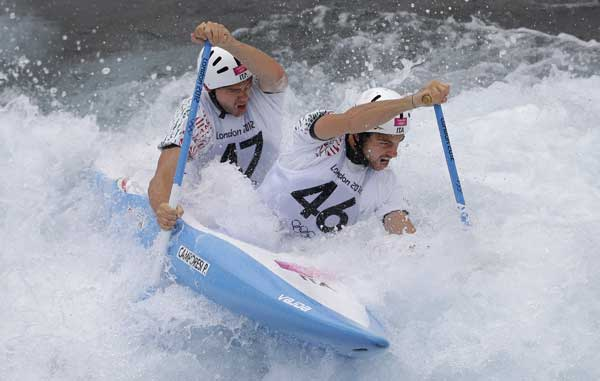 "<div class=""meta ""><span class=""caption-text "">Pietro Camporesi, right, and Niccolo Ferrari, left, of Italy train for the men's C2 canoe slalom at the Lee Valley White Water Center ahead of the 2012 Summer Olympics, Friday, July 27, 2012, in London. (AP Photo/Victor R. Caivano)</span></div>"