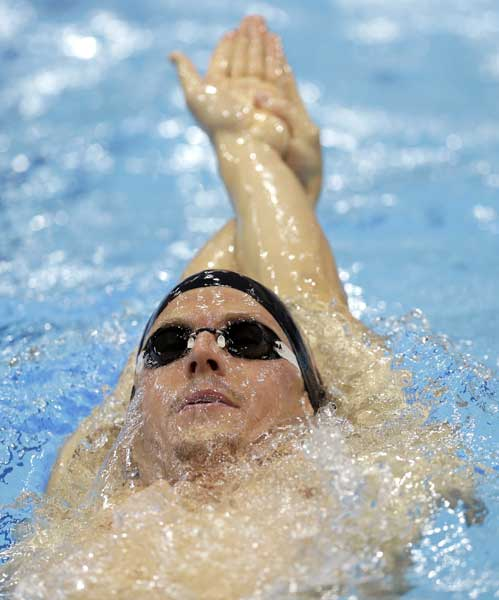 "<div class=""meta ""><span class=""caption-text "">Scott Weltz of the United States swims during a practice session at the Aquatics Centre in the Olympic Park ahead of the 2012 Summer Olympics, Friday, July 27, 2012, in London.  (AP Photo/Daniel Ochoa De Olza)</span></div>"