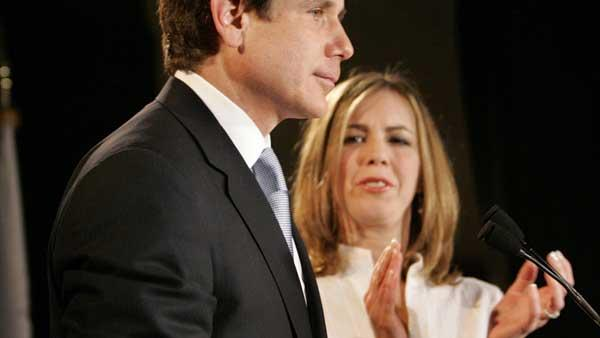 Illinois Gov. Rod Blagojevich, left, with his wife, Patti, speaks to supporters in 2006 in Chicago.