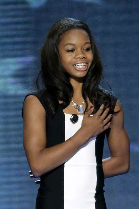 "<div class=""meta ""><span class=""caption-text "">Olympic gold medalist Gabby Douglas recites the Pledge of Allegiance at the Democratic National Convention in Charlotte, N.C., on Wednesday, Sept. 5, 2012. (AP Photo/J. Scott Applewhite) (Photo/J. Scott Applewhite)</span></div>"