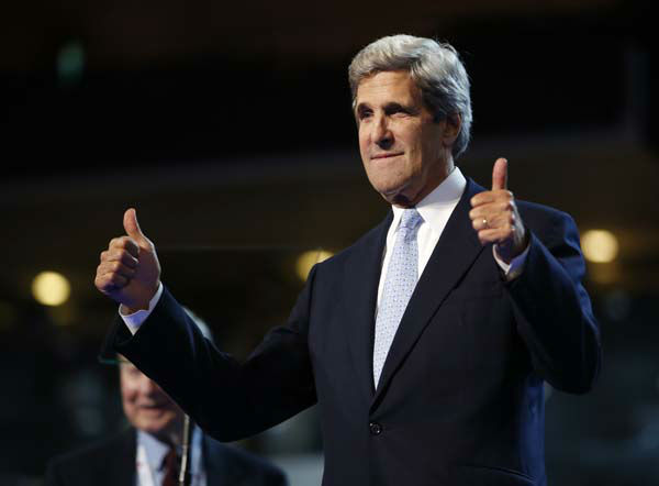 Sen. John Kerry of Massachusetts gestures during a sound check at the Democratic National Convention in Charlotte, N.C., on Wednesday, Sept. 5, 2012. &#40;AP Photo&#47;Jae C. Hong&#41; <span class=meta>(AP Photo&#47; Jae C. Hong)</span>