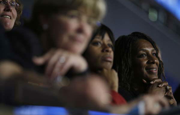 Delegates listens as First Lady Michelle Obama addresses the Democratic National Convention in Charlotte, N.C., on Tuesday, Sept. 4, 2012.  &#40;AP Photo&#47;David Goldman&#41; <span class=meta>(AP Photo&#47; David Goldman)</span>