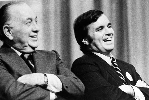 FILE - This Oct. 30, 1974 file photo shows Richard J. Daley, left, and his son, Richard M. Daley, attending a rally in Chicago.  <span class=meta>(AP)</span>