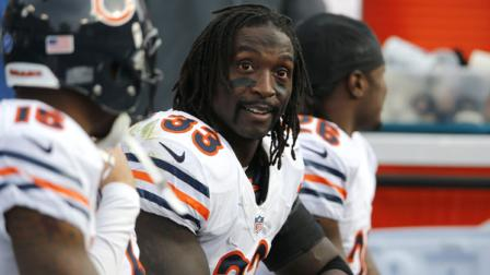 Chicago Bears cornerback Charles Tillman (33) looks at the scoreboard in the final moments of the fourth quarter of an NFL football game on Sunday, Nov. 4, 2012, in Nashville, Tenn. The Bears beat the Titans 51-20.