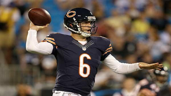 Chicago Bears quarterback Jay Cutler (6) looks to pass against the Carolina Panthers during the first half of a preseason