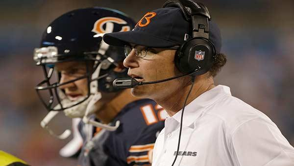 Chicago Bears head coach Marc Trestman looks on during the first half of a preseaso