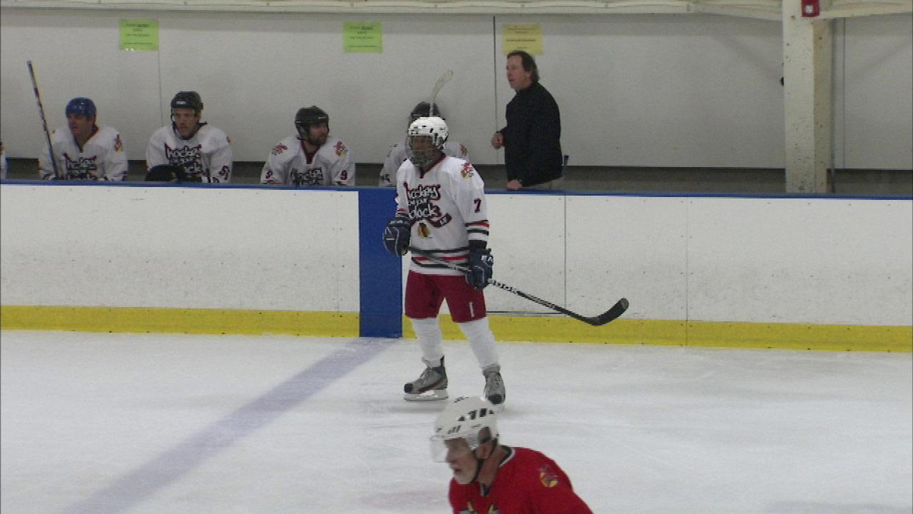 ABC7 Eyewitness News anchor Ravi Baichwal was one of the many players to show off their skills for a charity hockey game at the Rocket Ice Arena in Bolingbrook.