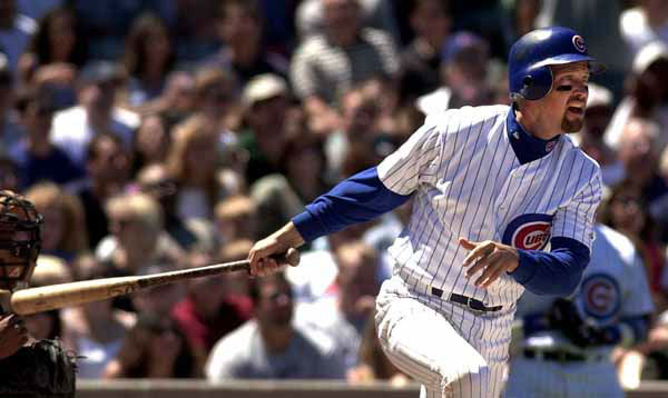 Chicago Cubs&#39; Mark Grace follows through on a two-run single in the second inning Sunday July 23, 2000, against the Milwaukee Brewers. Grace&#39;s single drove in Ismael Valdes and Eric Young to give the Cubs a 5-2 lead.  The Cubs won 5-4.  &#40;AP Photo&#47;Stephen J. Carrera&#41; <span class=meta>(AP Photo&#47; STEPHEN J. CARRERA)</span>