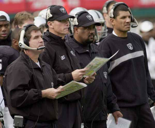 Oakland Raiders head coach Bill Callahan, left, and offensive coordinator Marc Trestman, second from left, running backs coach Skipp Peete, second from right, and tightends coach Jay Norvell watch their team against the New York Jets in the first half on Sunday Jan. 12, 2003 in Oakland, Calif. &#40;AP Photo&#47;Marcio Jose Sanchez&#41; <span class=meta>(AP Photo&#47; MARCIO JOSE SANCHEZ)</span>
