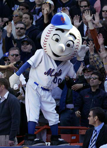 3.  3.Mr. Met, New York Mets: In this April 11, 2005 file photo, New York Mets mascot Mr. Met reacts with the crowd during the Mets home opener against the Houston Astros at Shea Stadium in New York.   <span class=meta>(AP Photo&#47; GREGORY BULL)</span>