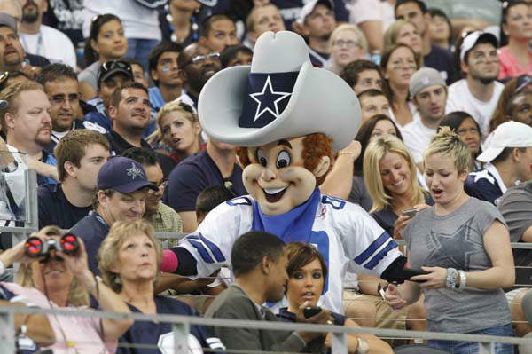 5.Rowdy, Dallas Cowboys: Dallas Cowboys mascot Rowdy during the first half of an NFL football game against the Tennessee Titans Sunday, Oct. 10, 2010 in Arlington, Texas. &#40;AP Photo&#47;Tim Sharp&#41; <span class=meta>(AP Photo&#47; Tim Sharp)</span>