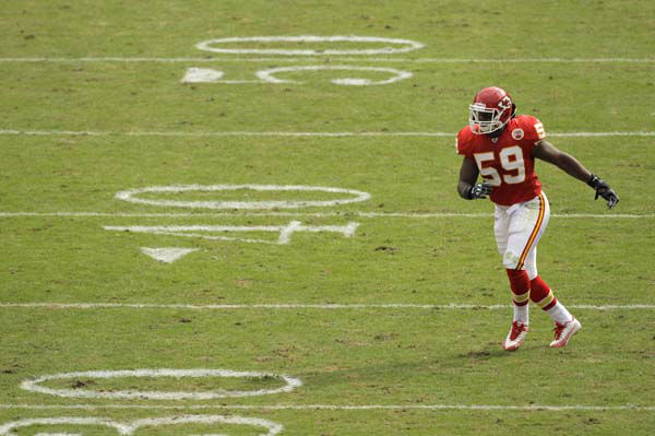 Kansas City Chiefs linebacker Jovan Belcher &#40;59&#41; during the second quarter of an NFL football game against the Buffalo Bills Sunday, Oct. 31, 2010 in Kansas City, Mo. &#40;AP Photo&#47;Charlie Riedel&#41; <span class=meta>(AP Photo&#47; Charlie Riedel)</span>