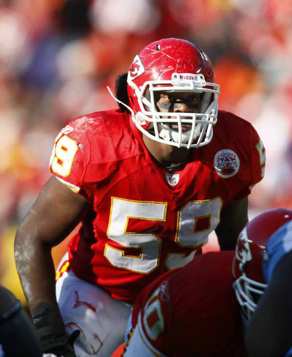 "<div class=""meta ""><span class=""caption-text "">Kansas City Chiefs linebacker Jovan Belcher (59) plays during an NFL football game against the Tennessee Titans Sunday, Dec. 26, 2010, in Kansas City, Mo. The Chiefs won 34-14. (AP Photo/Ed Zurga) (AP Photo/ Ed Zurga)</span></div>"