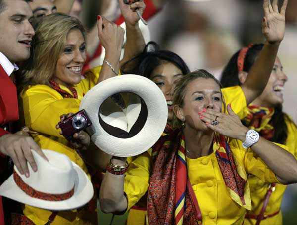 "<div class=""meta image-caption""><div class=""origin-logo origin-image ""><span></span></div><span class=""caption-text"">Spanish athletes parade during the Opening Ceremony at the 2012 Summer Olympics, Friday, July 27, 2012, in London. (AP Photo/David Goldman) (AP Photo/ David Goldman)</span></div>"