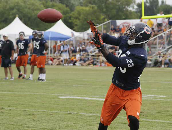Chicago Bears wide receiver Devin Hester &#40;23&#41; catches a ball during NFL football training camp at Olivet Nazarene University in Bourbonnais, Ill., Thursday, July 26, 2012. &#40;AP Photo&#47;Nam Y. Huh&#41; <span class=meta>(AP Photo&#47; Nam Y. Huh)</span>