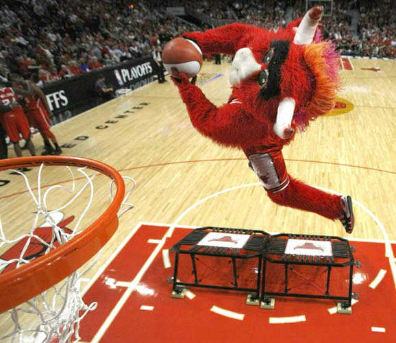 1.Benny the Bull, Chicago Bulls: Chicago Bulls&#39; mascot Benny The Bull performs during halftime in Game 2 of the NBA Eastern Conference semifinal series against the Chicago Bulls  Wednesday, May 4, 2011. &#40;AP Photo&#47;Charles Rex Arbogast&#41; <span class=meta>(AP Photo&#47; Charles Rex Arbogast)</span>