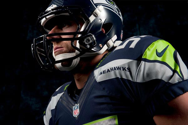 "<div class=""meta ""><span class=""caption-text "">In this undated photo provided by the Seattle Seahawks, the NFL team's new uniform design is shown. The NFL unveiled new uniforms designed by Nike for all 32 teams Tuesday, April 3, 2012, at a New York fashion show. (AP Photo/Seattle Seahawks, Rod Mar) (AP Photo/ Rod Mar)</span></div>"