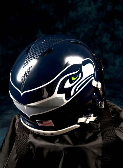 In this undated photo provided by the Seattle Seahawks, the NFL team&#39;s new helmet design is shown. The NFL unveiled new uniforms designed by Nike for all 32 teams Tuesday, April 3, 2012, at a New York fashion show. &#40;AP Photo&#47;Seattle Seahawks, Rod Mar&#41; <span class=meta>(AP Photo&#47; Rod Mar)</span>