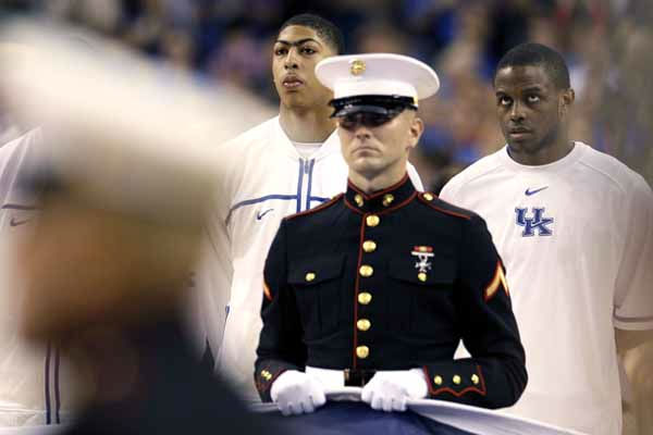 Kentucky forward Anthony Davis, left, and guard Darius Miller, right, stand during the National Anthem before the NCAA Final Four tournament college basketball championship game Monday, April 2, 2012, in New Orleans. &#40;AP Photo&#47;Mark Humphrey&#41; <span class=meta>(AP Photo&#47; Mark Humphrey)</span>