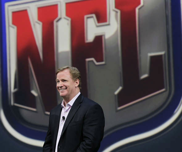 "<div class=""meta image-caption""><div class=""origin-logo origin-image ""><span></span></div><span class=""caption-text"">NFL Commissioner Roger Goodell smiles during a presentation in New York, Tuesday, April 3, 2012. The league and Nike showed off the new look in grand style with a gridiron-styled fashion show at a Brooklyn film studio. (AP Photo/Seth Wenig) (AP Photo/ Seth Wenig)</span></div>"