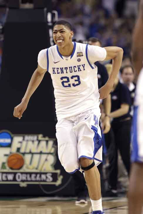 Kentucky forward Anthony Davis &#40;23&#41; reacts after the NCAA Final Four tournament college basketball championship game Monday, April 2, 2012, in New Orleans. Kentucky beat Kansas 67-59. &#40;AP Photo&#47;Charlie Neibergall&#41; <span class=meta>(AP Photo&#47; Charlie Neibergall)</span>