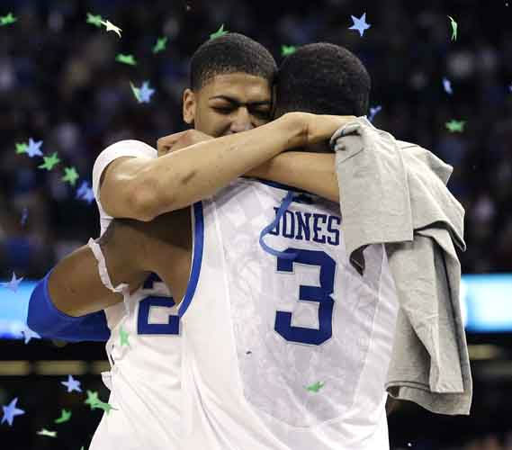 Kentucky forward Anthony Davis hugs forward Terrence Jones &#40;3&#41;after the NCAA Final Four tournament college basketball championship game Monday, April 2, 2012, in New Orleans. Kentucky beat Kansas 67-59.  &#40;AP Photo&#47;David J. Phillip&#41; <span class=meta>(AP Photo&#47; David J. Phillip)</span>