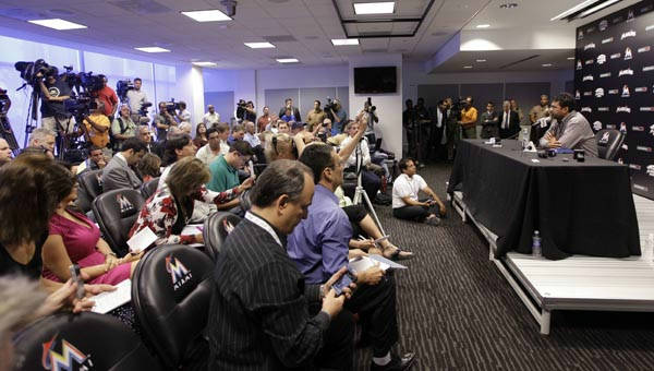 Miami Marlins manager Ozzie Guillen speaks at a news conference at Marlins Stadium in Miami, Tuesday April 10, 2012. Guillen has been suspended for five games because of his comments about Fidel Castro. He has again apologized and says he accepts the punishment.  &#40;AP Photo&#47;Lynne Sladky&#41; <span class=meta>(AP Photo&#47; Lynne Sladky)</span>