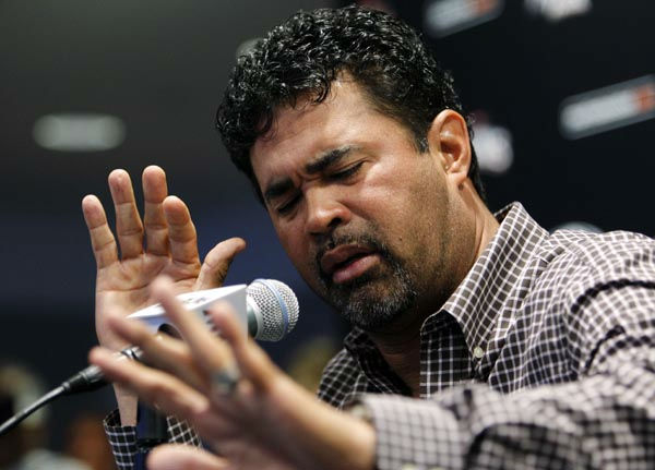 Miami Marlins manager Ozzie Guillen gestures at a news conference at Marlins Stadium in Miami, Tuesday April 10, 2012. Guillen has been suspended for five games because of his comments about Fidel Castro. He has again apologized and says he accepts the punishment.  &#40;AP Photo&#47;Lynne Sladky&#41; <span class=meta>(AP Photo&#47; Lynne Sladky)</span>