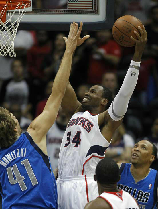 Atlanta Hawks center Jason Collins &#40;34&#41; is shown against the Dallas Mavericks in an NBA basketball game Thursday, April 26, 2012 in Atlanta. &#40;AP Photo&#47;John Bazemore&#41; <span class=meta>(AP Photo&#47; John Bazemore)</span>