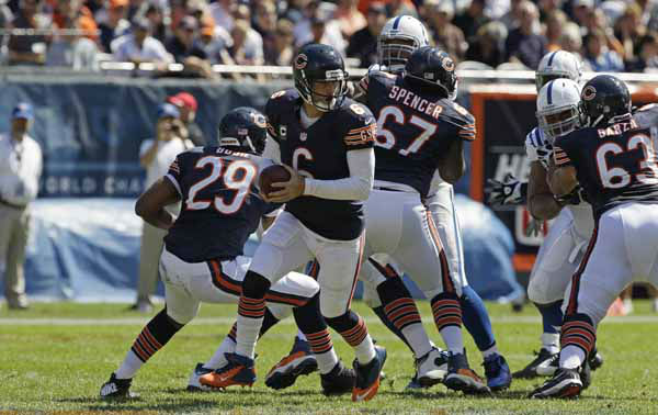 Chicago Bears quarterback Jay Cutler &#40;6&#41; rolls out to pass against the Indianapolis Colts during the first half of an NFL football game in Chicago, Sunday, Sept. 9, 2012. &#40;AP Photo&#47;Nam Y. Huh&#41; <span class=meta>(AP Photo&#47; Nam Y. Huh)</span>
