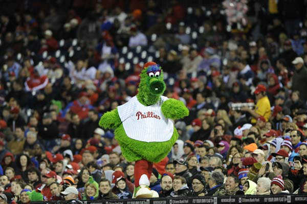 4. 4.Phillie Phanatic, Philadelphia Phillies: The Phillie Phanatic is shown during a baseball game against the Pittsburgh Pirates, Tuesday, April 23, 2013, in Philadelphia. &#40;AP Photo&#47;Michael Perez&#41; <span class=meta>(AP Photo&#47; Michael Perez)</span>