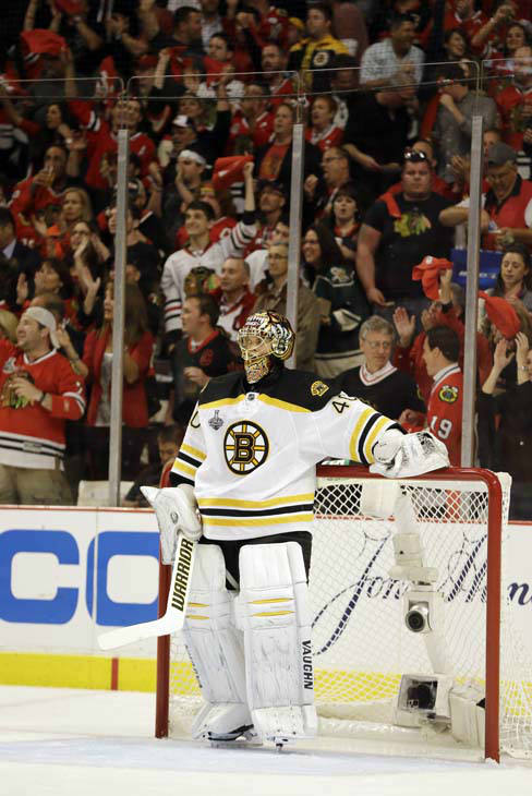 Boston Bruins goalie Tuukka Rask &#40;40&#41; reacts after giving up a goal by Chicago Blackhawks left wing Brandon Saad &#40;20&#41; during the second period of Game 1 in their NHL Stanley Cup Final hockey series, Wednesday, June 12, 2013, in Chicago. &#40;AP Photo&#47;Nam Y. Huh&#41; <span class=meta>(AP Photo&#47; Nam Y. Huh)</span>