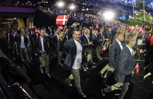 Denmark&#39;s Olympic team arrives during the Opening Ceremony at the 2012 Summer Olympics, Friday, July 27, 2012, in London. &#40;AP Photo&#47;Matt Slocum&#41; <span class=meta>(AP Photo&#47; Matt Slocum)</span>