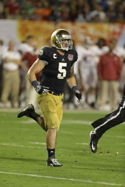 "<div class=""meta ""><span class=""caption-text "">Notre Dame linebacker Manti Te'o (5) works against Alabama during the second half of the BCS National Championship college football game Monday, Jan. 7, 2013, in Miami. (AP Photo/Chris O'Meara) (AP Photo/ Chris O'Meara)</span></div>"