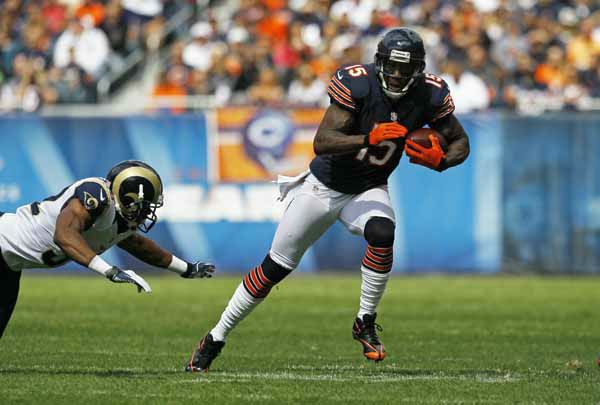 Chicago Bears wide receiver Brandon Marshall &#40;15&#41; runs in the first half of an NFL football game against the St. Louis Rams in Chicago, Sunday, Sept. 23, 2012. &#40;AP Photo&#47;Charles Rex Arbogast&#41; <span class=meta>(AP Photo&#47; Charles Rex Arbogast)</span>